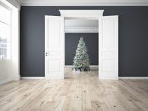 Árbol de navidad adornado con las porciones de presentes representación 3d Fotografía de archivo