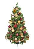 Árbol de navidad adornado con los ornamentos coloridos aislados en el fondo blanco fotografía de archivo libre de regalías