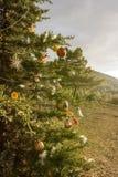 Árbol de navidad adornado en el bosque Foto de archivo libre de regalías