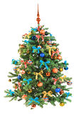 Árbol de navidad adornado en el fondo blanco Imágenes de archivo libres de regalías