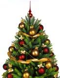 Árbol de navidad adornado en el fondo blanco fotos de archivo libres de regalías