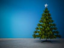 Árbol de navidad adornado en sitio azul Imagen de archivo libre de regalías