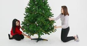Árbol de navidad adornado hermana asiática almacen de video