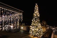 Árbol de navidad adornado y encendido en el jardín Fotografía de archivo