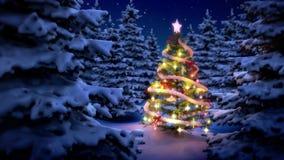 Árbol de navidad aligerado en bosque de pino libre illustration