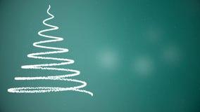 Árbol de navidad animado con los copos de nieve que caen en fondo de la turquesa Humor de la Navidad libre illustration