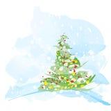 Árbol de navidad artístico de la acuarela Imágenes de archivo libres de regalías