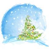 Árbol de navidad artístico de la acuarela Imagen de archivo libre de regalías