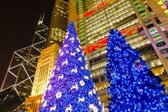 Árbol de navidad azul Fotografía de archivo