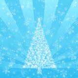 Árbol de navidad azul con el fondo del copo de nieve Fotos de archivo libres de regalías
