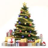 Árbol de navidad azul y blanco stock de ilustración