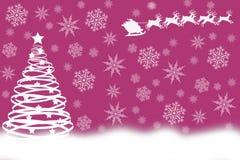 Árbol de navidad blanco con el trineo de Papá Noel en brillante Imagenes de archivo