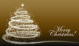 Árbol de navidad blanco del copo de nieve en fondo oscuro con el texto Imagen de archivo