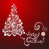 Árbol de navidad blanco del cordón en fondo rojo Fotos de archivo libres de regalías