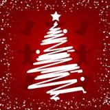 Árbol de navidad blanco en el fondo rojo, tarjeta de la Feliz Año Nuevo foto de archivo libre de regalías