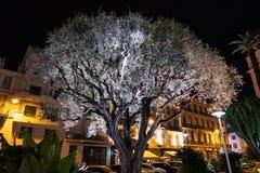 Árbol de navidad blanco en las calles de Cannes fotos de archivo libres de regalías