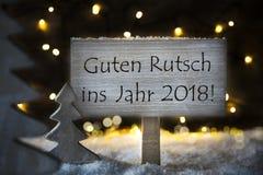 Árbol de navidad blanco, Feliz Año Nuevo de los medios de Guten Rutsch 2018 Foto de archivo