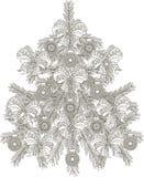 Árbol de navidad blanco y negro dibujado mano del bosquejo Fotografía de archivo