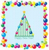Árbol de navidad, bolas y estrellas stock de ilustración