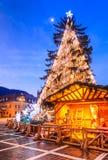 Árbol de navidad, Brasov, Rumania Imagenes de archivo
