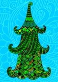 Árbol de navidad colorido en un fondo azul Foto de archivo libre de regalías