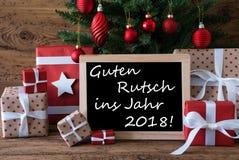 Árbol de navidad colorido, Feliz Año Nuevo de los medios de Guten Rutsch 2018 Imagen de archivo