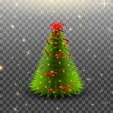 Árbol de navidad con el arco rojo y cintas aisladas en fondo transparente Fotografía de archivo