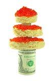 Árbol de navidad con el caviar rojo y dólar aislado Foto de archivo libre de regalías