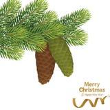 Árbol de navidad con el cono del pino Imagen de archivo libre de regalías