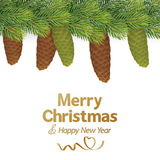 Árbol de navidad con el cono del pino Fotografía de archivo libre de regalías