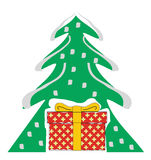 Árbol de navidad con el rectángulo de regalo Imágenes de archivo libres de regalías
