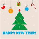 Árbol de navidad con el regalo, el caramelo, la bola y el copo de nieve Tarjeta de la Feliz Año Nuevo foto de archivo libre de regalías