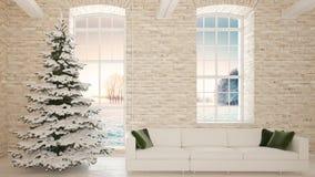 Árbol de navidad con el sofá al lado de la pared de ladrillo representación 3d Foto de archivo