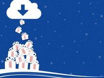 Árbol de navidad con la actual caja Foto de archivo libre de regalías