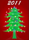 Árbol de navidad con la bola Fotografía de archivo libre de regalías