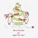 Árbol de navidad con la cabra Fotos de archivo libres de regalías