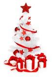 Árbol de navidad con la decoración roja Foto de archivo libre de regalías