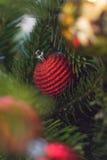 Árbol de navidad con la decoración roja Fotografía de archivo