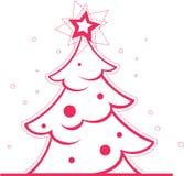 Árbol de navidad con la decoración y la estrella Fotos de archivo