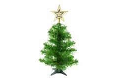 Árbol de navidad con la estrella del oro en el fondo blanco Fotografía de archivo