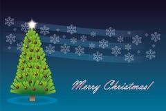 Árbol de navidad con la estrella y la decoración Imagen de archivo
