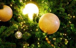 Árbol de navidad con la luz de oro y el fondo chispeante del ornamento Fotos de archivo