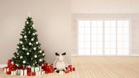 Árbol de navidad con la muñeca del reno y la caja de regalo en el sitio vacío - ilustraciones para el día de la Navidad - rep stock de ilustración