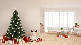 Árbol de navidad con la muñeca del reno y la caja de regalo en la sala de estar - ilustraciones para el día de la Navidad - re ilustración del vector