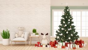 Árbol de navidad con la muñeca del reno y oso de peluche en la sala de estar - ilustraciones para el día de la Navidad - repre stock de ilustración
