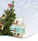Árbol de navidad con la postal exótica de las vacaciones Imágenes de archivo libres de regalías