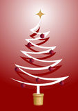 Árbol de navidad con las bolas brillantes rojas Fotos de archivo libres de regalías