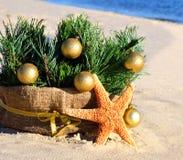 Árbol de navidad con las bolas de oro de la Navidad y estrellas de mar en el s Fotos de archivo