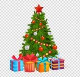 Árbol de navidad con las bolas hermosas, decoraciones Regalos bajo el árbol de navidad stock de ilustración
