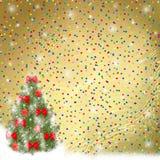 Árbol de navidad con las bolas y los arqueamientos Fotos de archivo